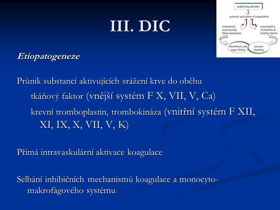 III. DIC Etiopatogeneze