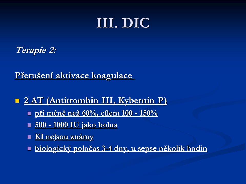 III. DIC Terapie 2: Přerušení aktivace koagulace