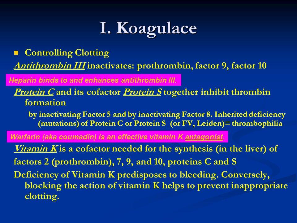 I. Koagulace Controlling Clotting