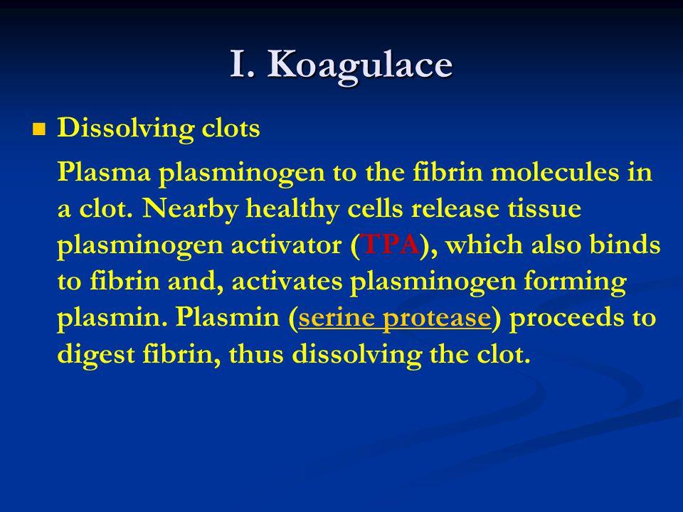 I. Koagulace Dissolving clots