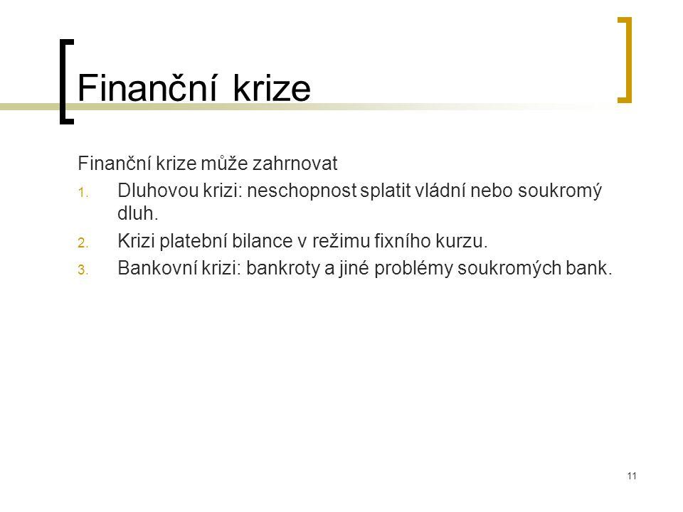 Finanční krize Finanční krize může zahrnovat