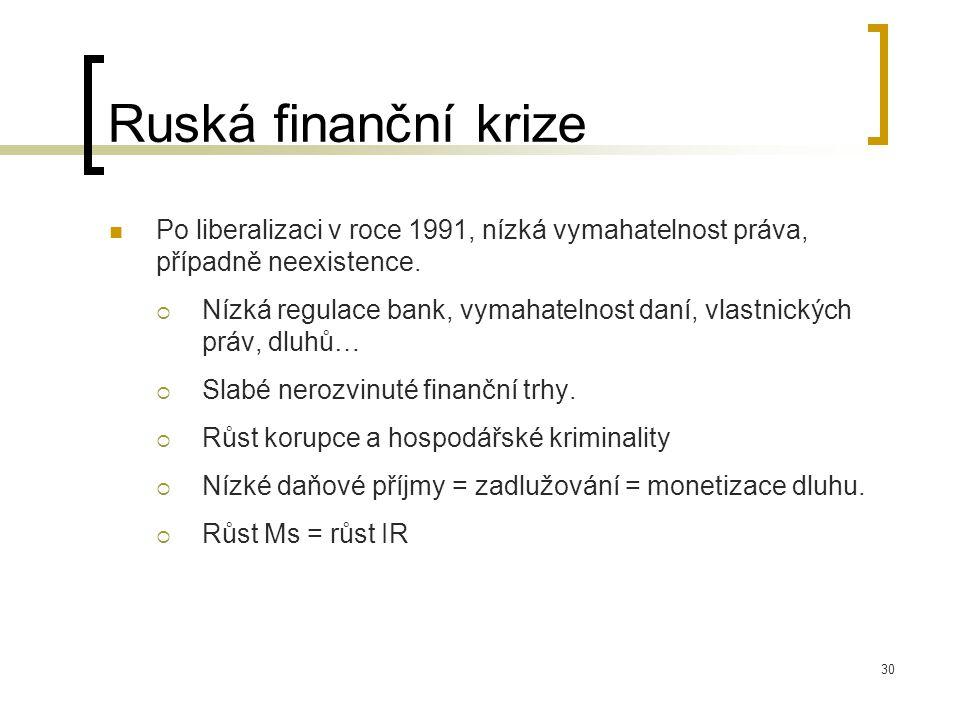 Ruská finanční krize Po liberalizaci v roce 1991, nízká vymahatelnost práva, případně neexistence.