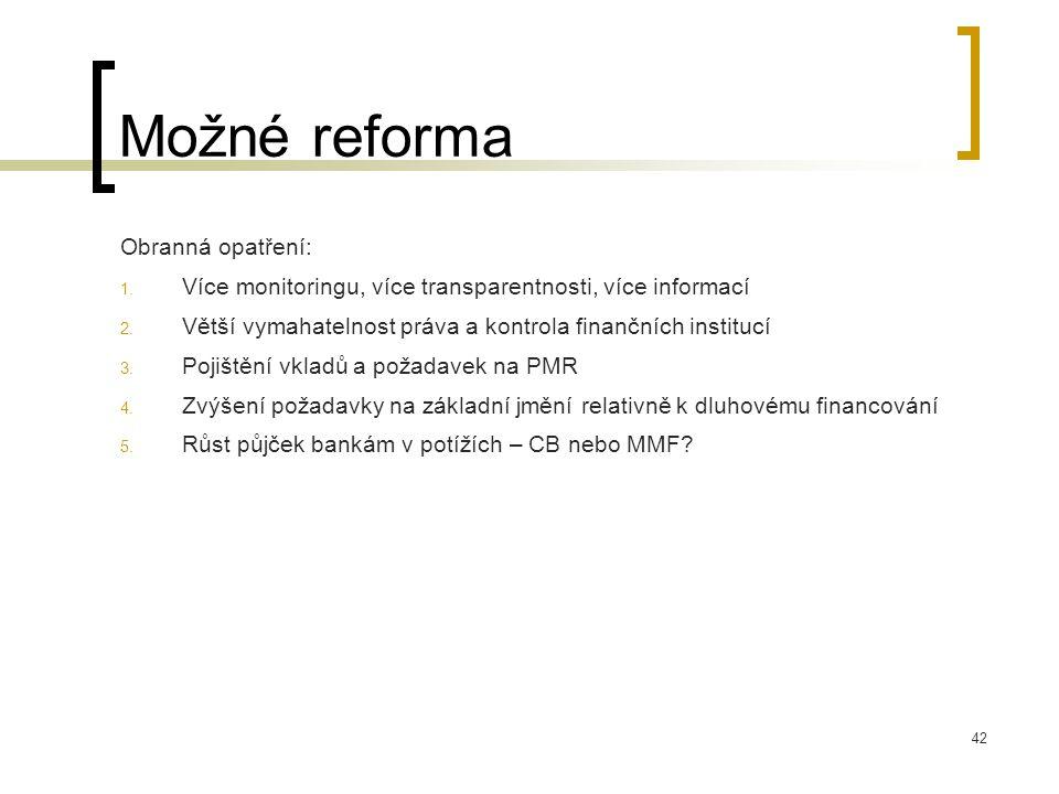 Možné reforma Obranná opatření: