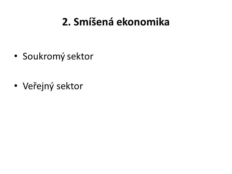 2. Smíšená ekonomika Soukromý sektor Veřejný sektor