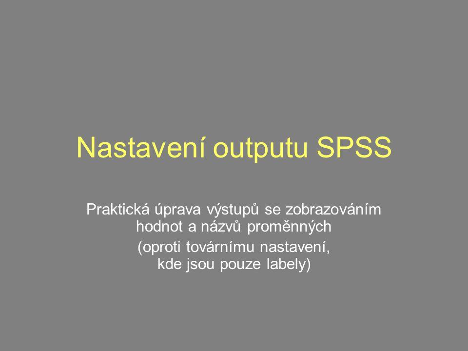 Nastavení outputu SPSS