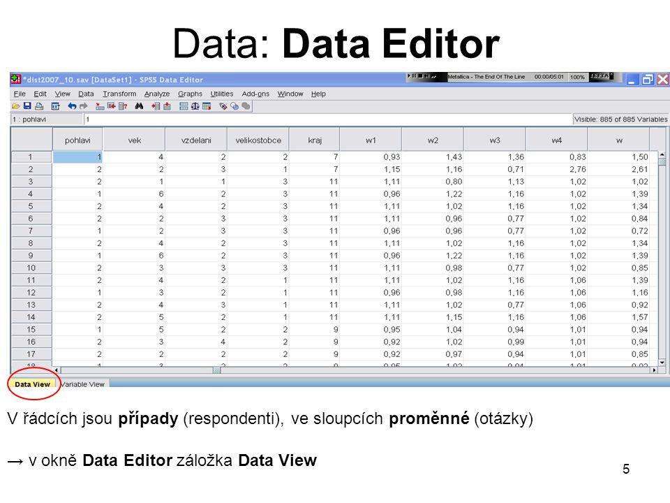 Data: Data Editor V řádcích jsou případy (respondenti), ve sloupcích proměnné (otázky) → v okně Data Editor záložka Data View.