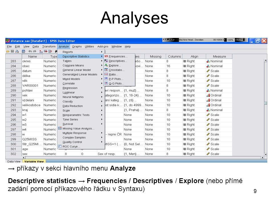 Analyses → příkazy v sekci hlavního menu Analyze