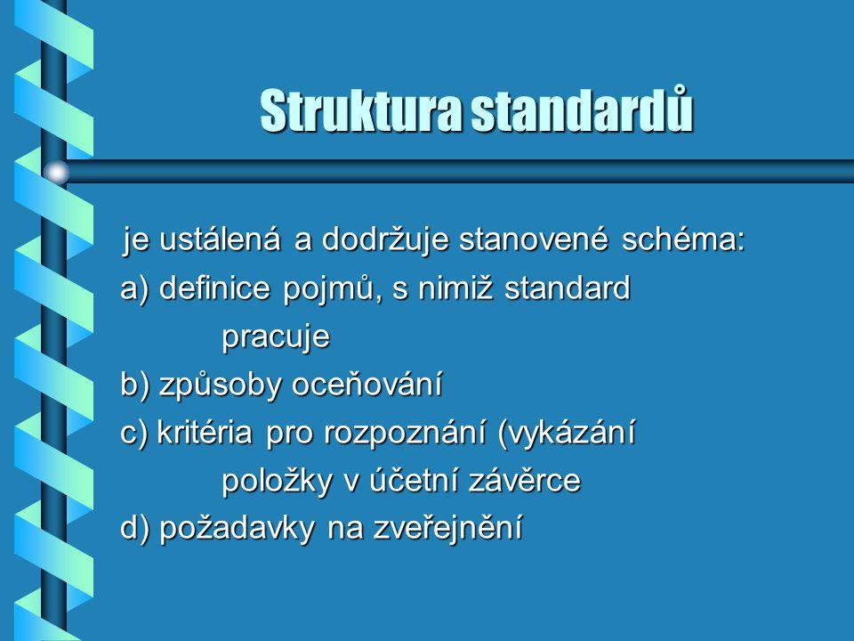 Struktura standardů je ustálená a dodržuje stanovené schéma: