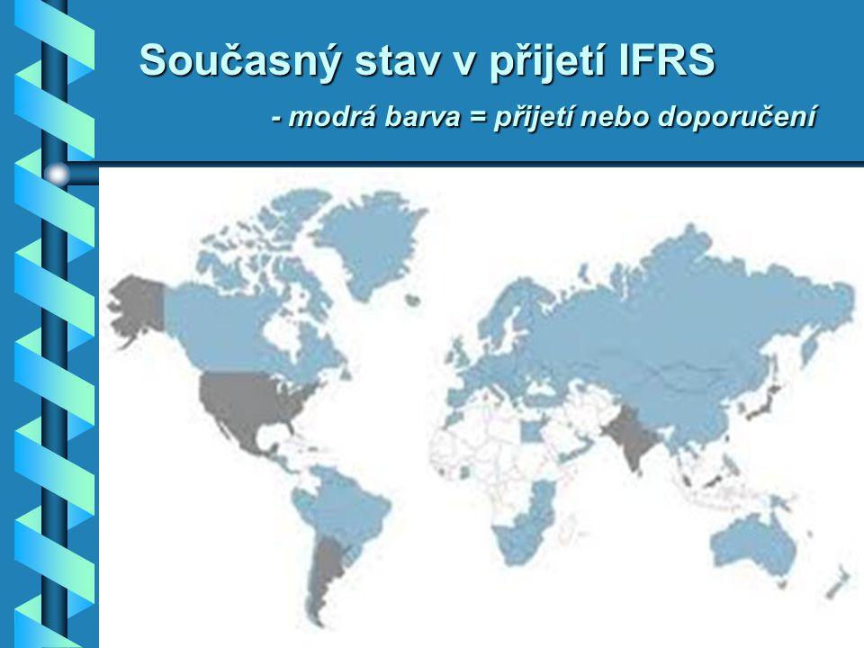 Současný stav v přijetí IFRS - modrá barva = přijetí nebo doporučení