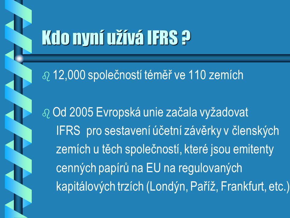 Kdo nyní užívá IFRS 12,000 společností téměř ve 110 zemích