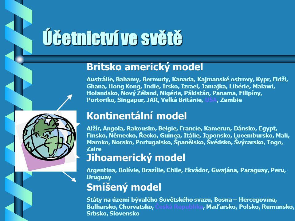Účetnictví ve světě Britsko americký model Kontinentální model