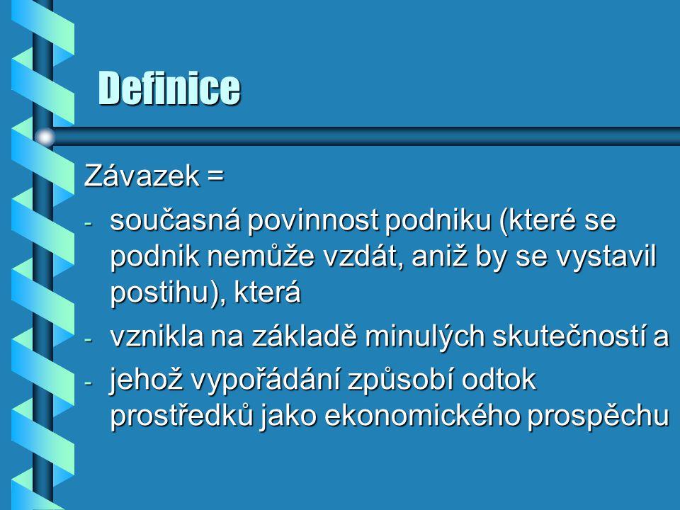Definice Závazek = současná povinnost podniku (které se podnik nemůže vzdát, aniž by se vystavil postihu), která.