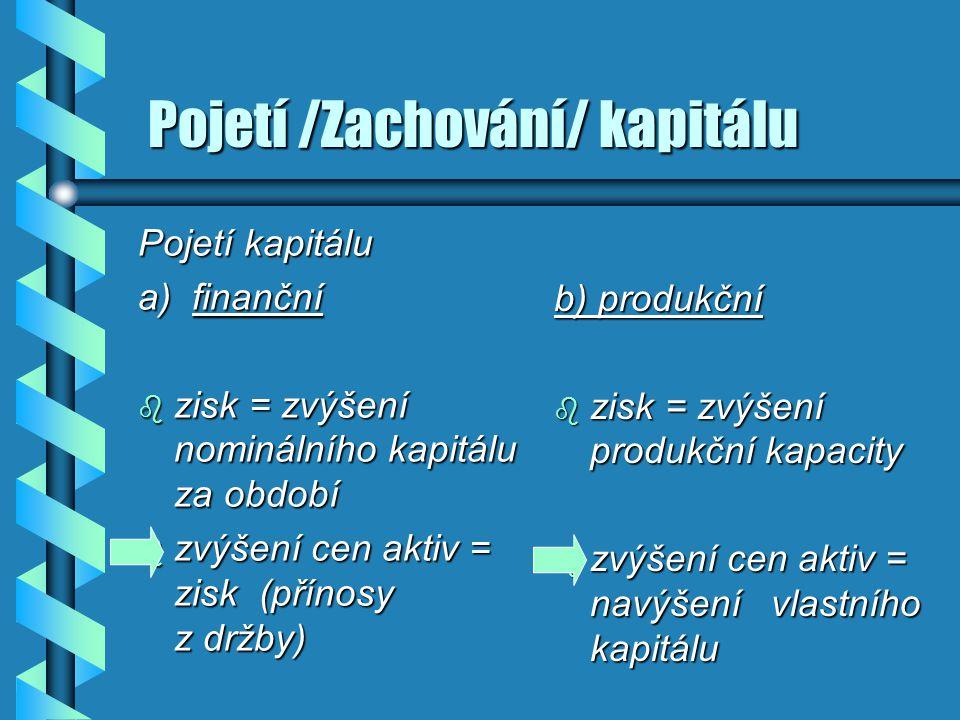Pojetí /Zachování/ kapitálu