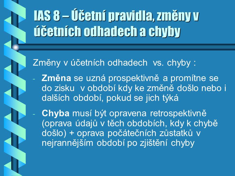 IAS 8 – Účetní pravidla, změny v účetních odhadech a chyby