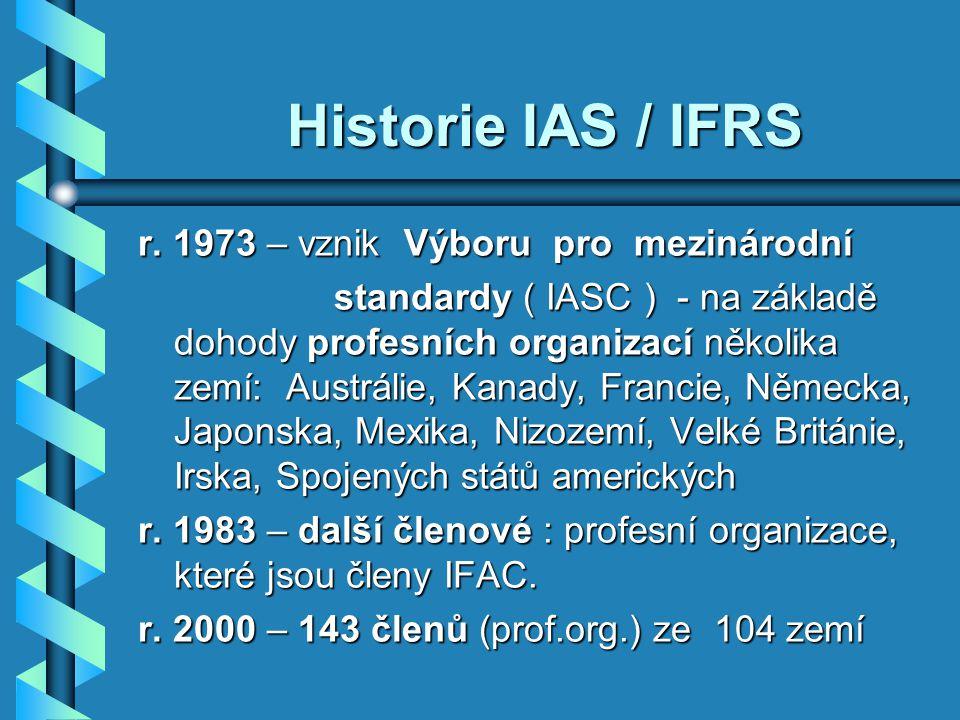 Historie IAS / IFRS r. 1973 – vznik Výboru pro mezinárodní