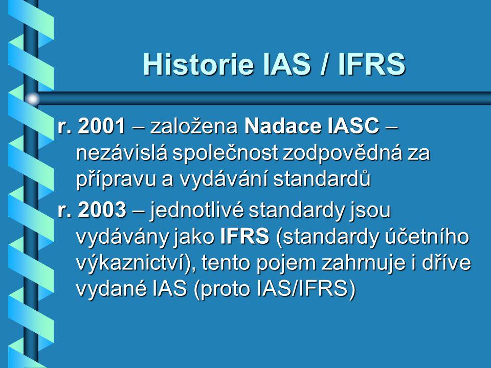 Historie IAS / IFRS r. 2001 – založena Nadace IASC – nezávislá společnost zodpovědná za přípravu a vydávání standardů.