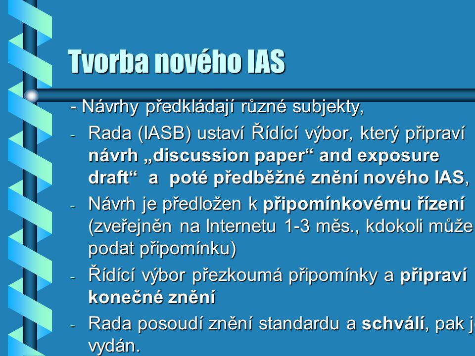 Tvorba nového IAS - Návrhy předkládají různé subjekty,