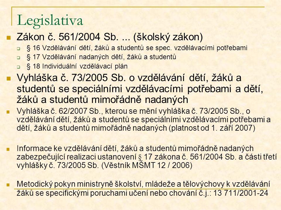 Legislativa Zákon č. 561/2004 Sb. ... (školský zákon)