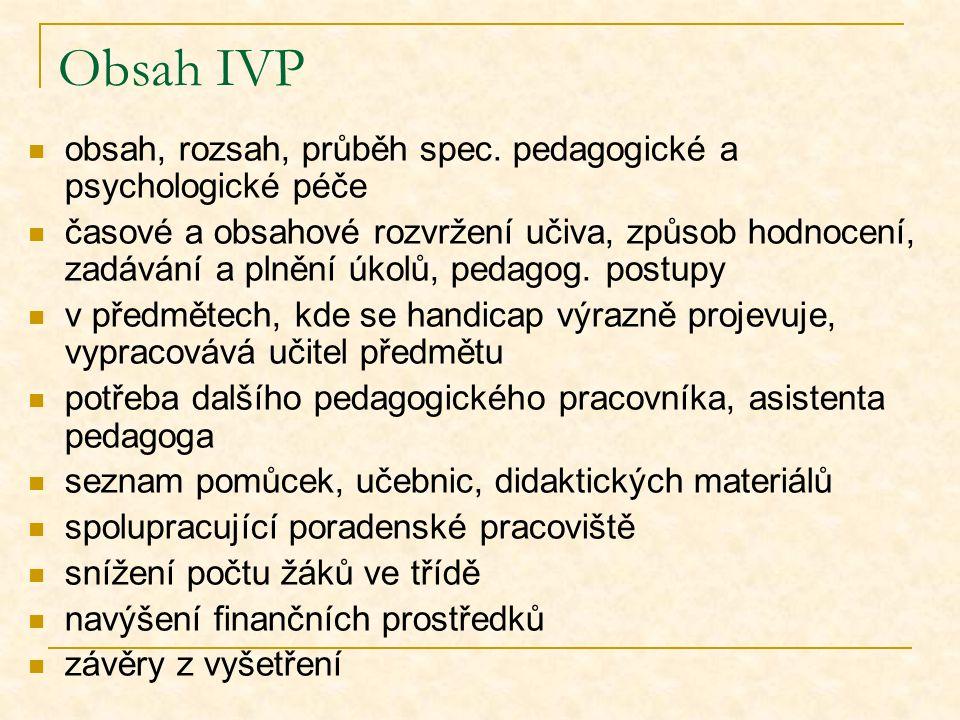 Obsah IVP obsah, rozsah, průběh spec. pedagogické a psychologické péče