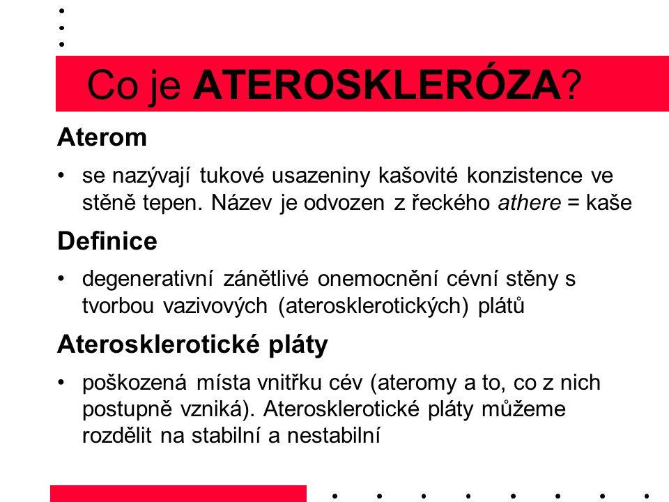Co je ATEROSKLERÓZA Aterom Definice Aterosklerotické pláty
