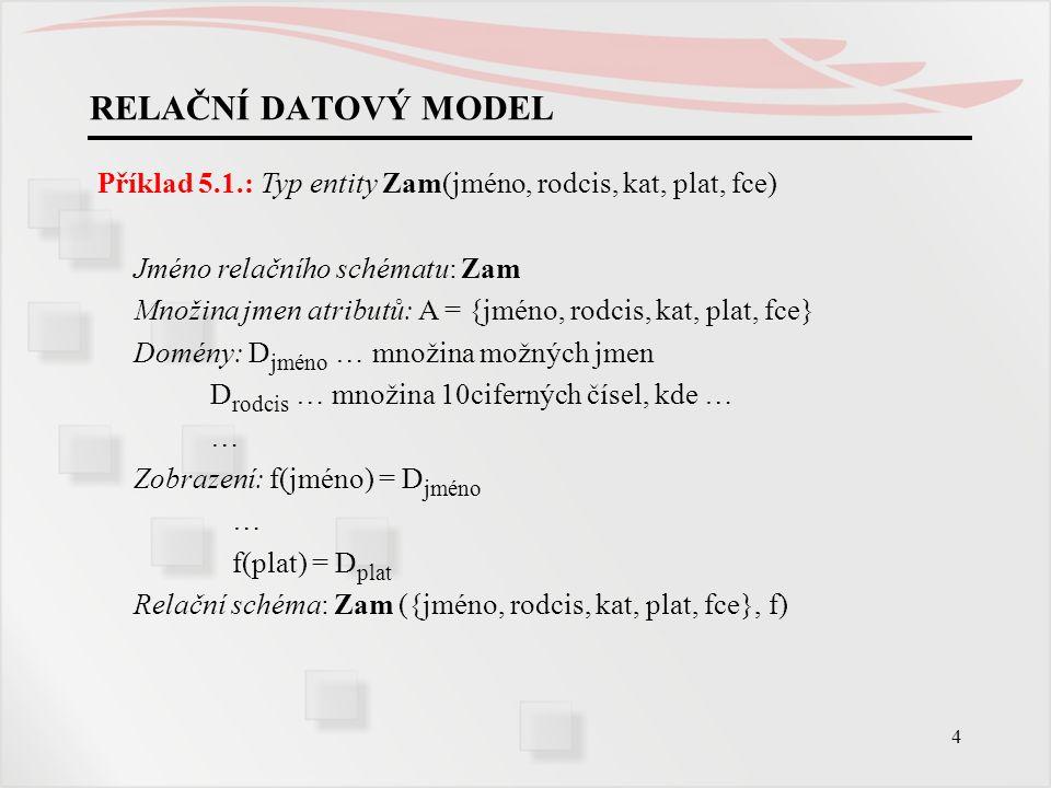 RELAČNÍ DATOVÝ MODEL Příklad 5.1.: Typ entity Zam(jméno, rodcis, kat, plat, fce) Jméno relačního schématu: Zam.