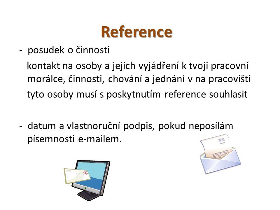 Reference - posudek o činnosti