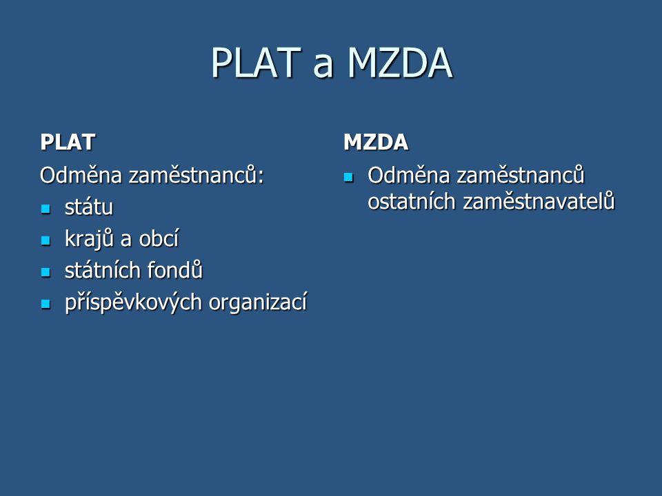 PLAT a MZDA PLAT MZDA Odměna zaměstnanců: státu krajů a obcí