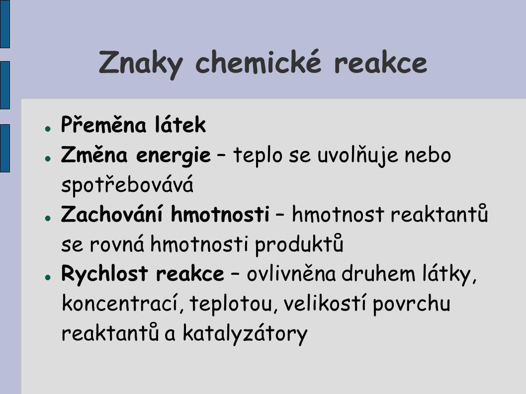 Znaky chemické reakce Přeměna látek