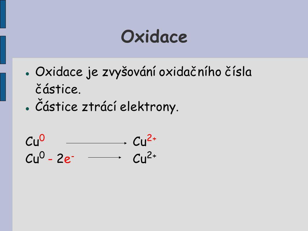 Oxidace Oxidace je zvyšování oxidačního čísla částice.