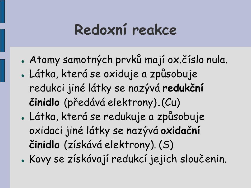 Redoxní reakce Atomy samotných prvků mají ox.číslo nula.