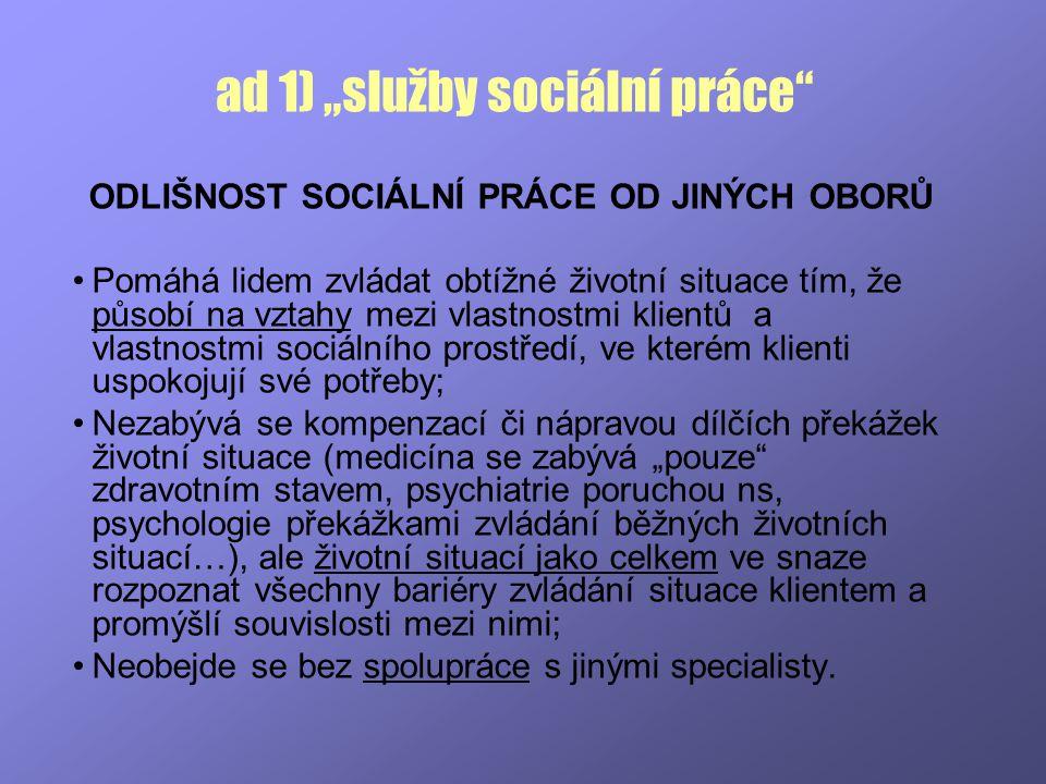"""ad 1) """"služby sociální práce"""