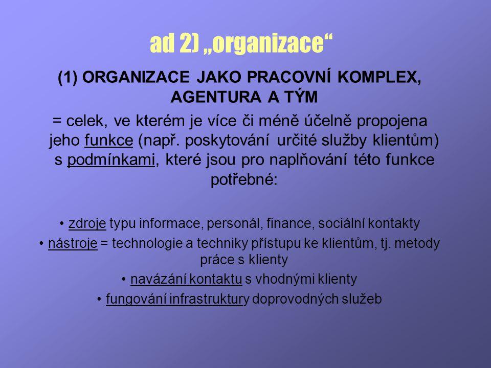 """ad 2) """"organizace ORGANIZACE JAKO PRACOVNÍ KOMPLEX, AGENTURA A TÝM"""