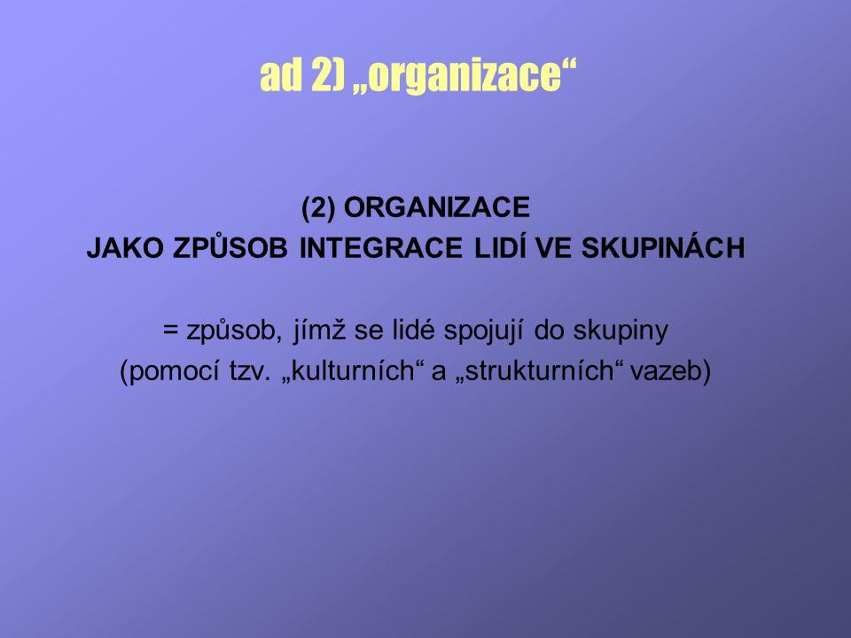 """ad 2) """"organizace (2) ORGANIZACE"""