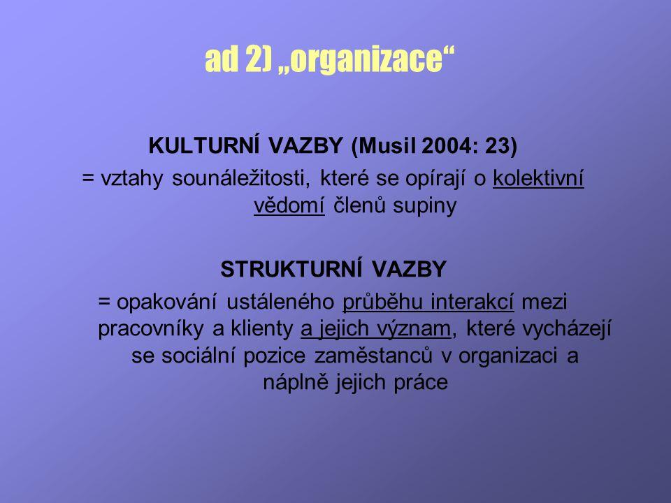 KULTURNÍ VAZBY (Musil 2004: 23)