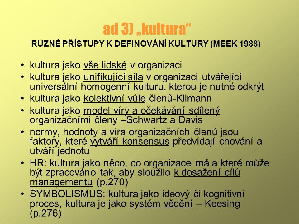 RŮZNÉ PŘÍSTUPY K DEFINOVÁNÍ KULTURY (MEEK 1988)