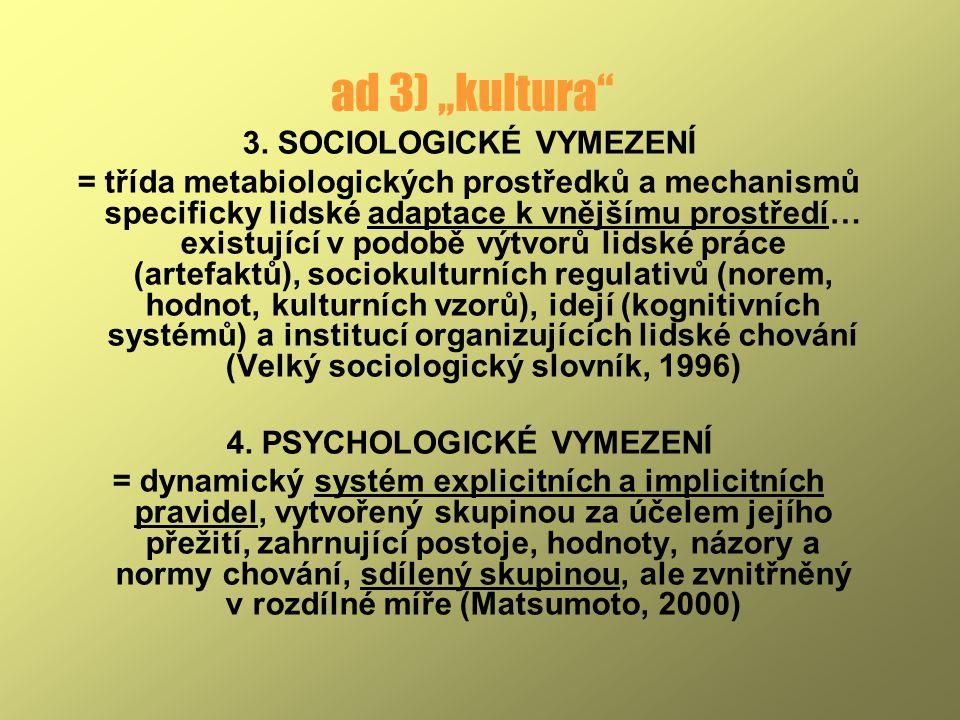 3. SOCIOLOGICKÉ VYMEZENÍ 4. PSYCHOLOGICKÉ VYMEZENÍ