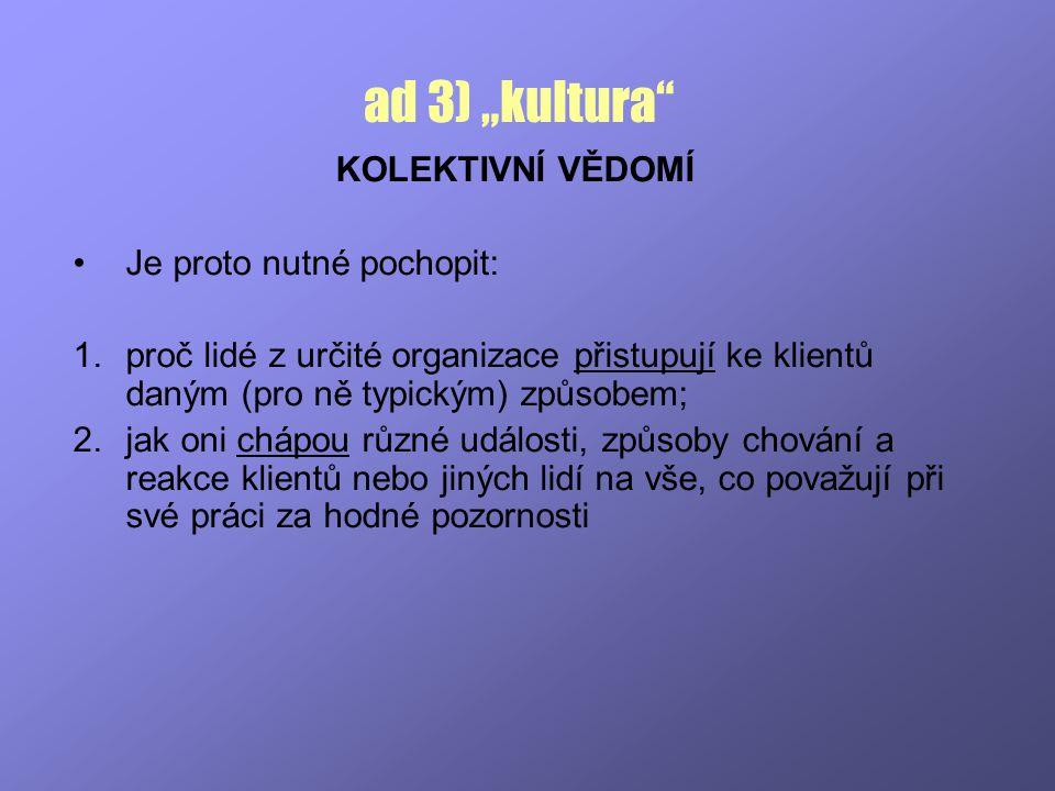 """ad 3) """"kultura KOLEKTIVNÍ VĚDOMÍ Je proto nutné pochopit:"""