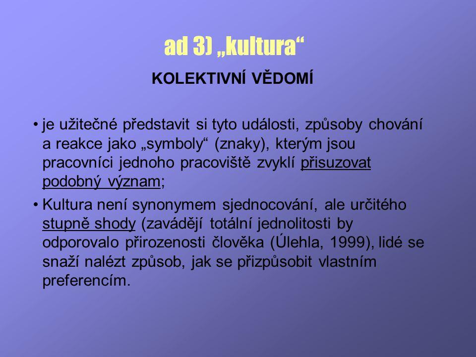 """ad 3) """"kultura KOLEKTIVNÍ VĚDOMÍ"""