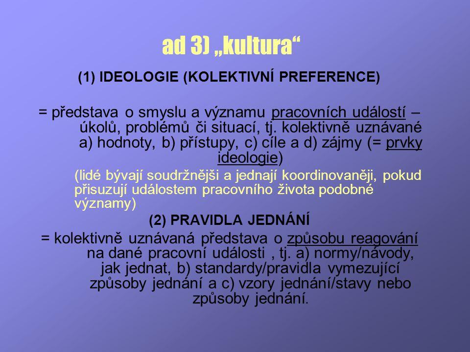 (1) IDEOLOGIE (KOLEKTIVNÍ PREFERENCE)
