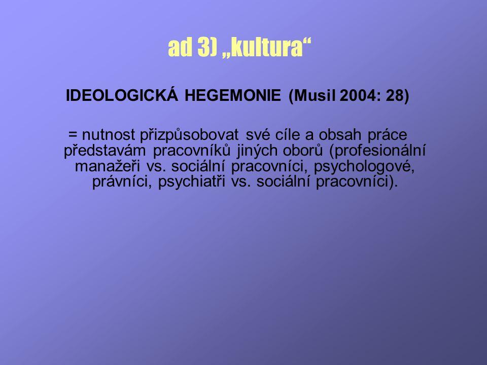 IDEOLOGICKÁ HEGEMONIE (Musil 2004: 28)