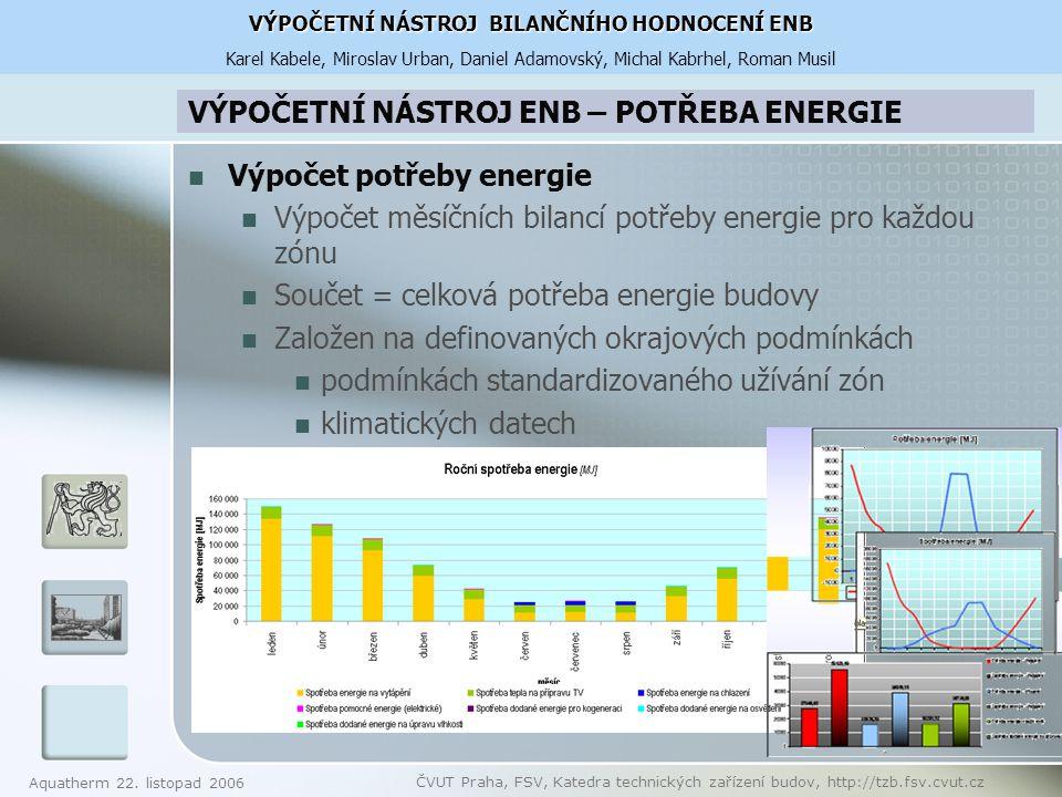 VÝPOČETNÍ NÁSTROJ ENB – POTŘEBA ENERGIE