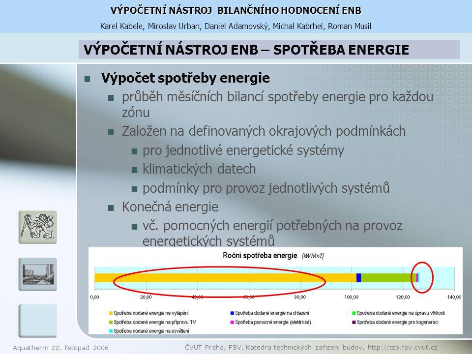 VÝPOČETNÍ NÁSTROJ ENB – SPOTŘEBA ENERGIE