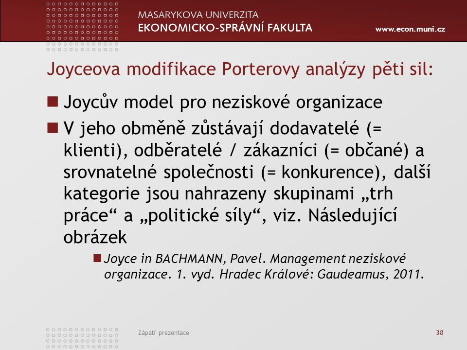 Joyceova modifikace Porterovy analýzy pěti sil: