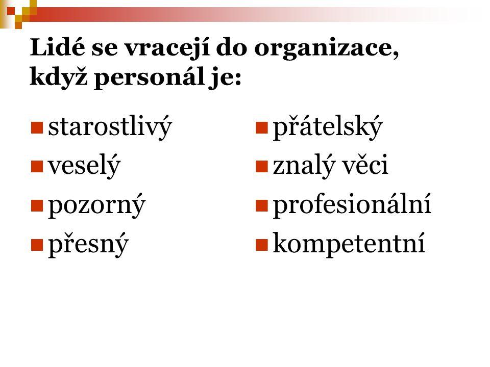 Lidé se vracejí do organizace, když personál je: