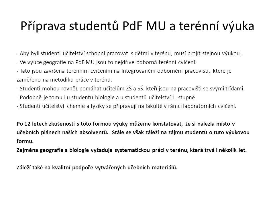 Příprava studentů PdF MU a terénní výuka