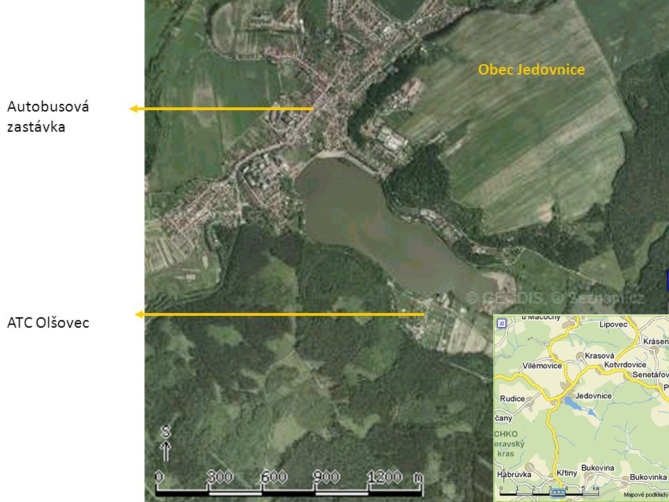 Obec Jedovnice Autobusová zastávka ATC Olšovec