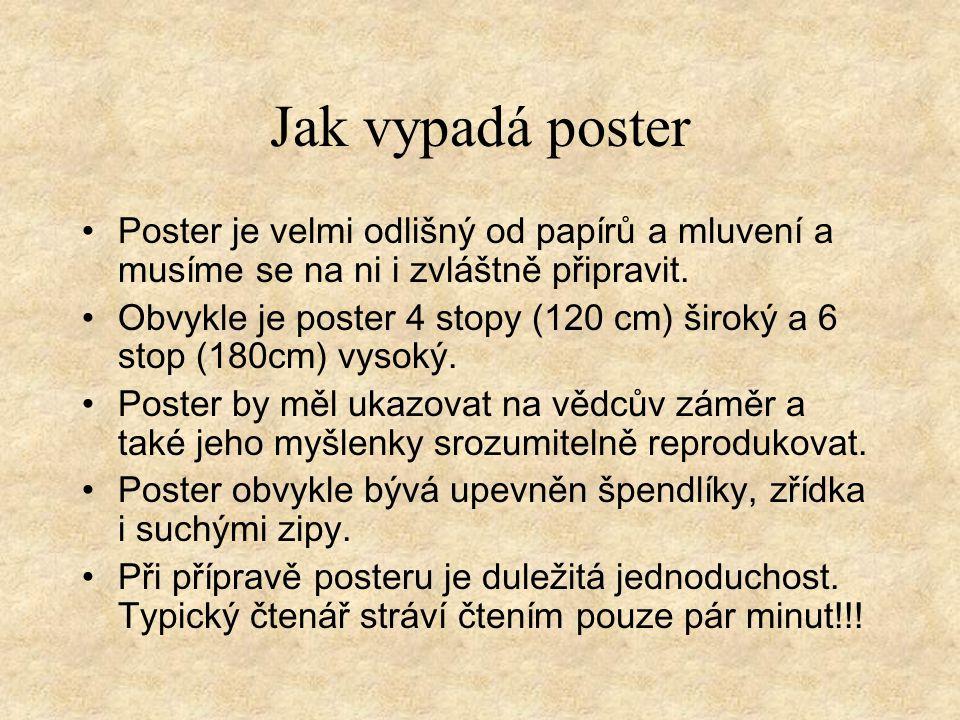 Jak vypadá poster Poster je velmi odlišný od papírů a mluvení a musíme se na ni i zvláštně připravit.