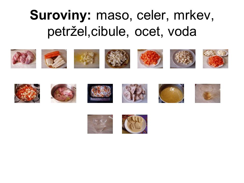 Suroviny: maso, celer, mrkev, petržel,cibule, ocet, voda