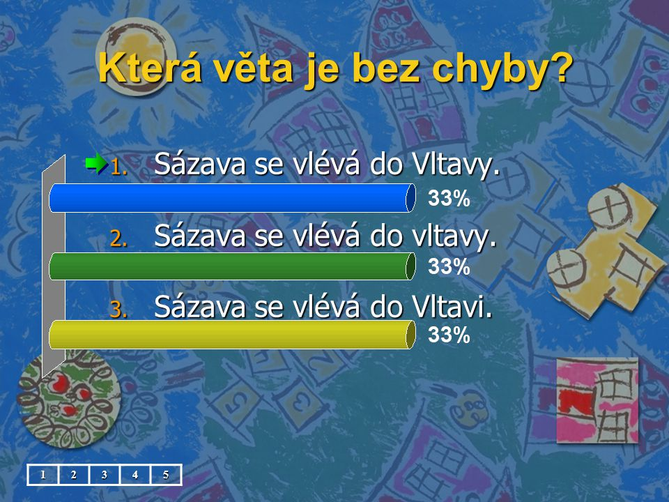 Která věta je bez chyby Sázava se vlévá do Vltavy.