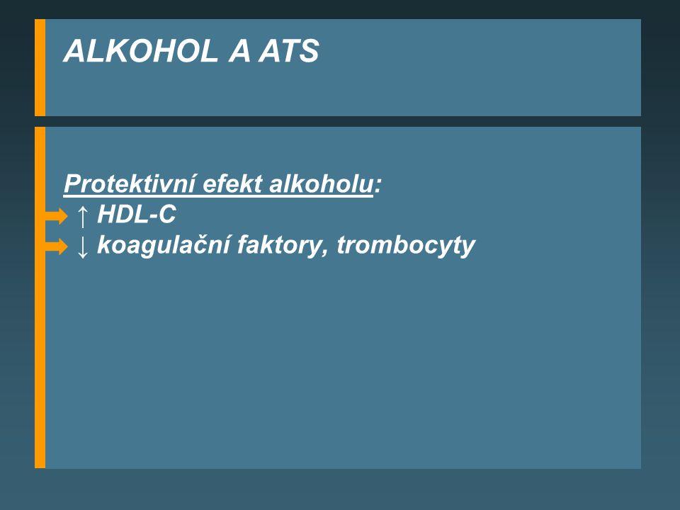 ALKOHOL A ATS Protektivní efekt alkoholu: ↑ HDL-C
